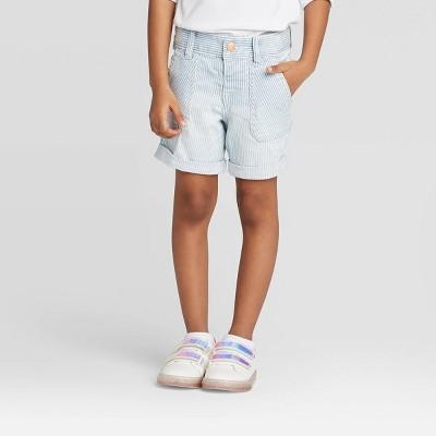 Toddler Girls' Striped Bermuda Jean Shorts - Cat & Jack™ Blue 12M