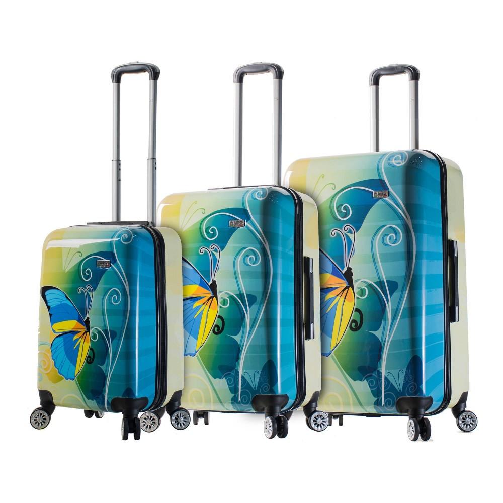 Mia Viaggi Italy 3pc Hardside Luggage Set - Butterfly, Multi-Colored