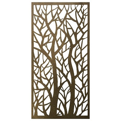 Stratco 4 x 2 Foot Decorative Rustic Lightweight Outdoor Metal Privacy Screen Panel for Backyard Screening, Fencing, and Backdrops, Forest Pattern