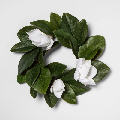 """12"""" Artificial Magnolia Mini Wreath White/Green - Threshold™"""