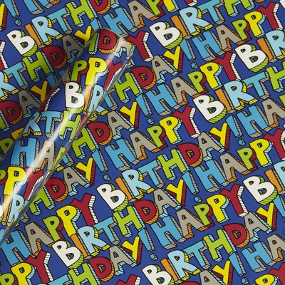 20sq ft 'Happy Birthday' Gift Wrapping Paper - Spritz™