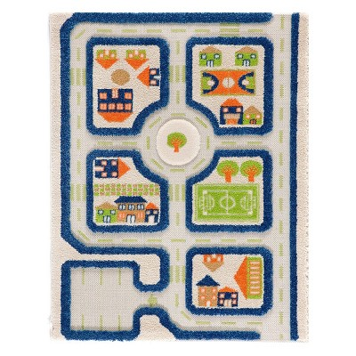 """2'5""""x3'8"""" Rectangle Woven Car Accent Rug Blue - IVI"""