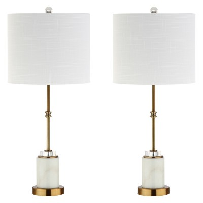 27  Harper Marble/Crystal LED Table Lamp Set Of 2 White (Includes Energy Efficient Light Bulb)- JONATHAN Y