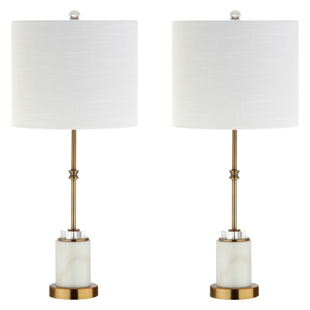 """Image of """"27"""""""" Harper Marble/Crystal LED Table Lamp Set Of 2 White (Includes Energy Efficient Light Bulb) - JONATHAN Y"""""""