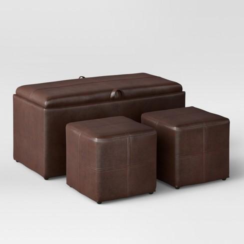 3pc Storage Ottoman Brown Threshold