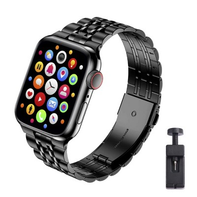 Insten 7 links Solid Stainless Steel Metal Band for Apple Watch 38mm 40mm All Series SE 6 5 4 3 2 1 Replacement Bracelet Strap, Black