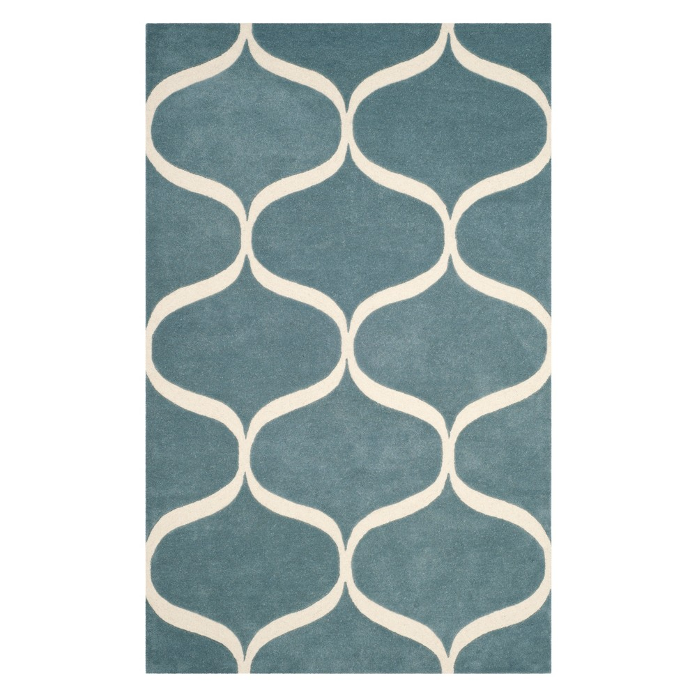 4'X6' Geometric Tufted Area Rug Light Blue/Ivory - Safavieh