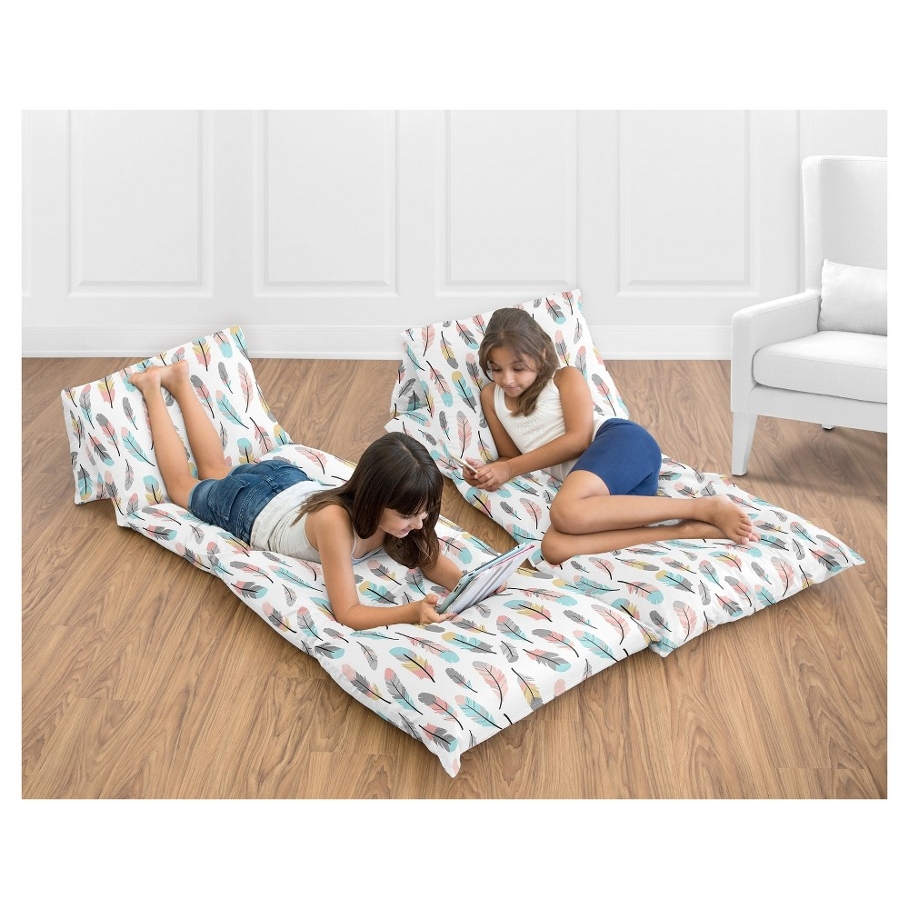 Coral & Turquoise Floor Pillow Lounger Cover (Pillows Not Included) - Sweet Jojo Designs