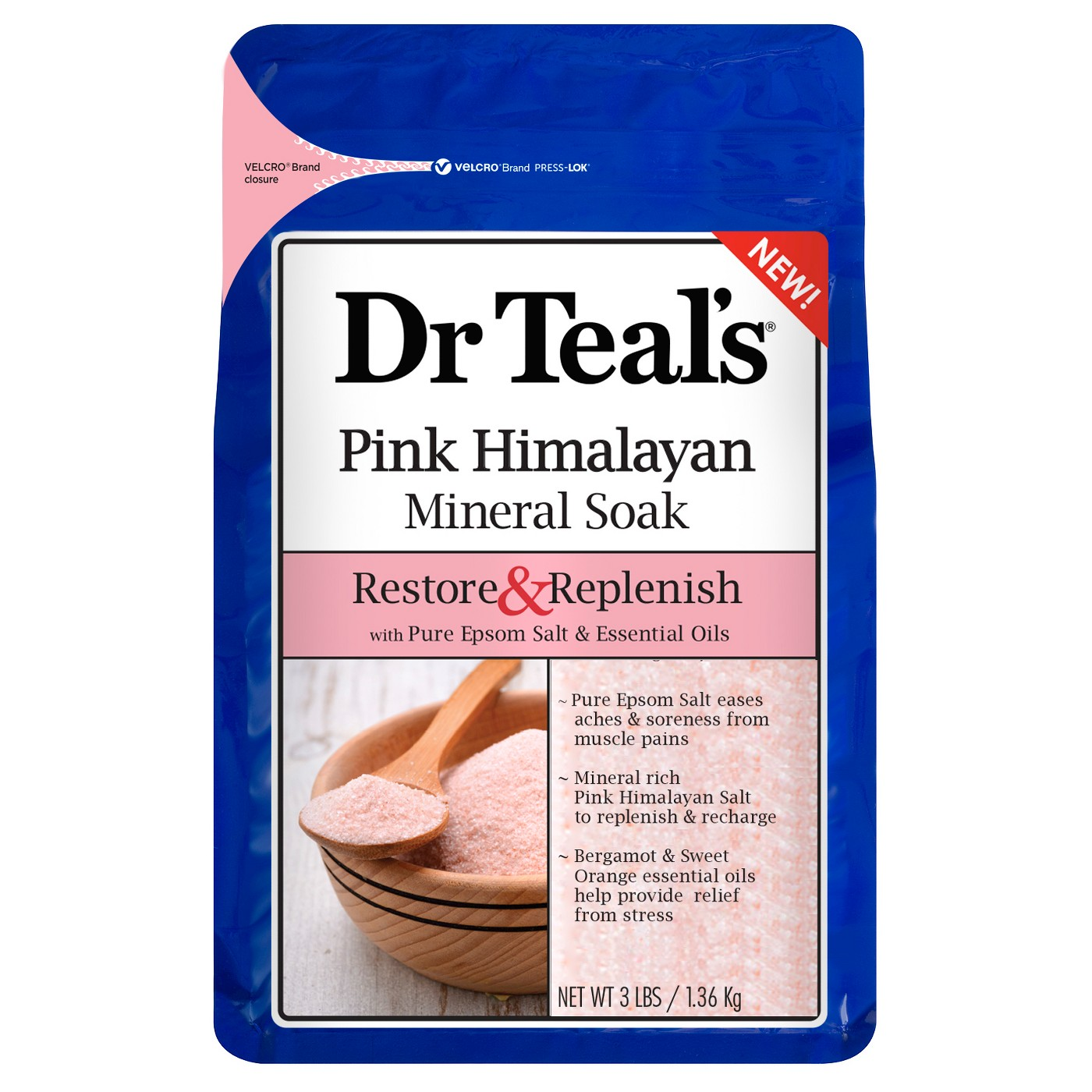 Dr Teal's® Restore & Replenish Pure Epsom Salt & Essential Oils Pink Himalayan Mineral Soak - 48oz - image 1 of 1