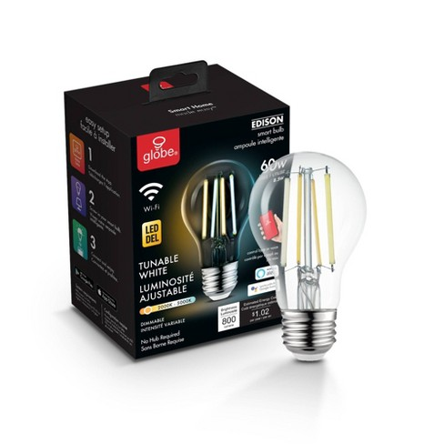 Smart 60W Equivalent Vintage Filament Tunable White LED Wi-Fi Enabled Voice Activated A19 E26 Light Bulb - image 1 of 4