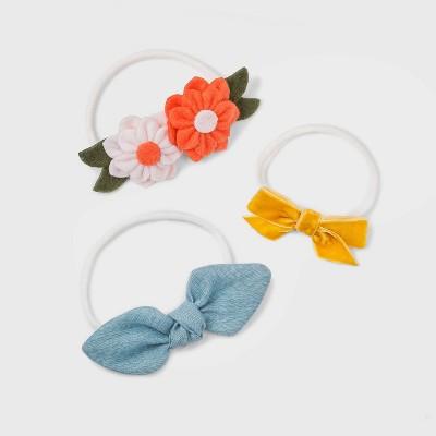 Baby Girls' 3pk Chambray and Felt Flower Bow Headband Set - Cat & Jack™