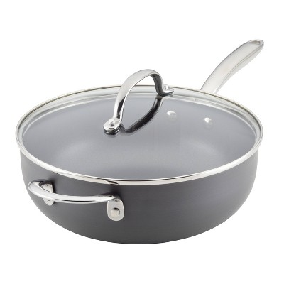 Rachael Ray 4qt Hard Anodized Nonstick Saucier Saucepan with Helper Handle and Lid Gray