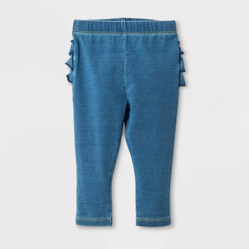 Baby Girls' Ruffle Bum Faux Denim Jeans - Cat & Jack Medium Wash 3-6M, Blue