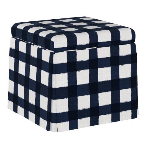 Super Carla Skirted Storage Ottoman Blue Plaid Cloth Co Machost Co Dining Chair Design Ideas Machostcouk