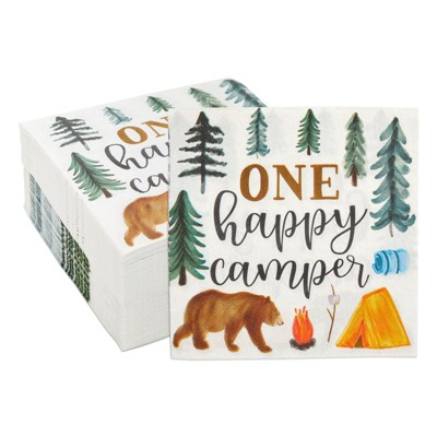 Blue Panda 100 Pack Camping Napkins for 1st Birthday Party Supplies, One Happy Camper (6.5 In)
