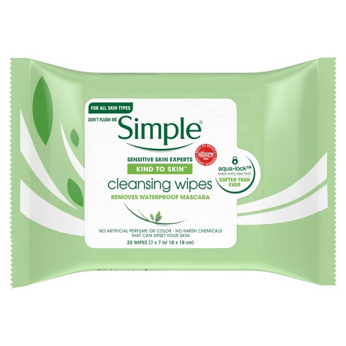 Unscented Simple Kind to Skin Cleansing Facial Wipes - 25ct - image 1 of 4