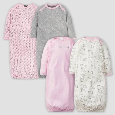 Gerber Baby Girls' 4pk Bunny Nightgown - Pink