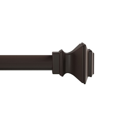 1-Inch Curtain Rod- Decorative Modern Square Finials and Hardware- For Home Decor in Bedroom and Kitchen- 66-120-Inch by Hastings Home (Bronze)