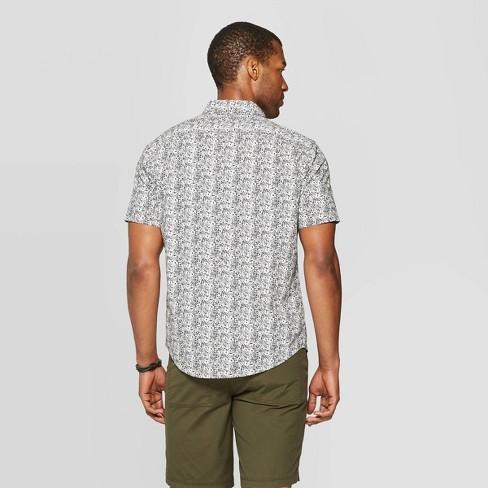 1c9177d3 Men's Floral Print Standard Fit Short Sleeve Poplin Button-Down Shirt -  Goodfellow & Co™ Navy