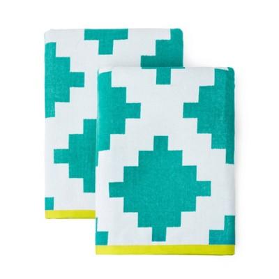 2pk Riviera Geo Beach Towels Turquoise - Martha Stewart