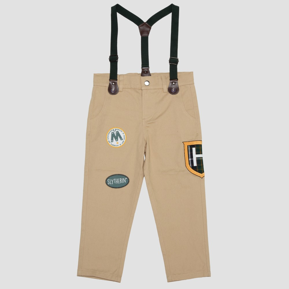 Toddler Boys' Harry Potter Slytherin Pants with Suspenders - Khaki 3T, Beige