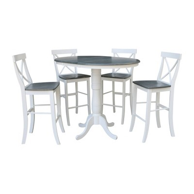 """36"""" Katie Round Extension Dining Table with 4 Stools - International Concepts"""