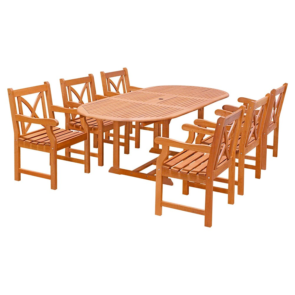 7pc Oval Wood Patio Dining Set - Brown - Vifah