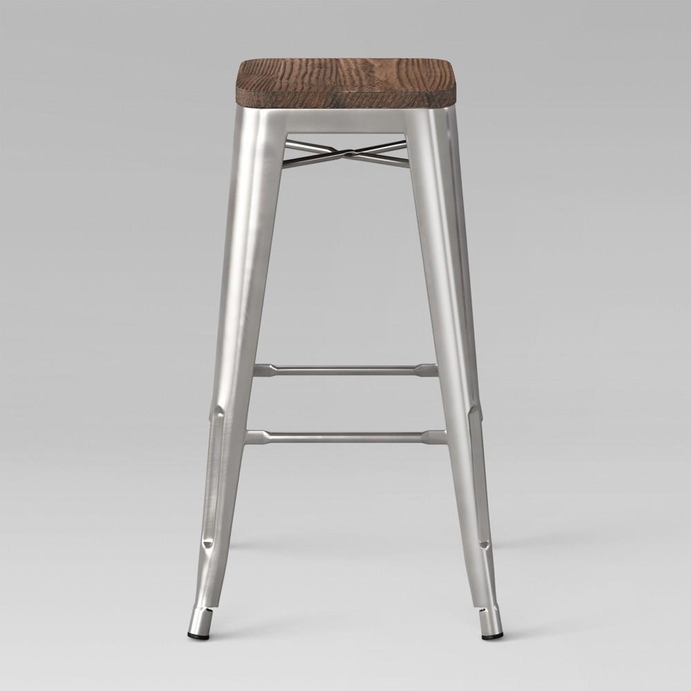 Set of 2 29 Hampden Industrial Wood Top Barstool Natural Metal - Threshold Top
