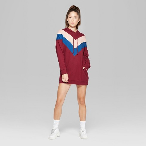 Women s Long Sleeve Color Blocked Hooded Sweatshirt Dress - Wild Fable™  Wine XXS   Target 0d77f8cf26