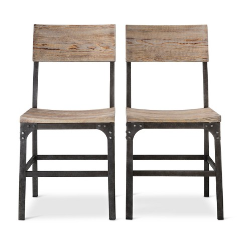 Franklin Wood Seat Dining Chair Set Of 2 Weathered Gray Threshold