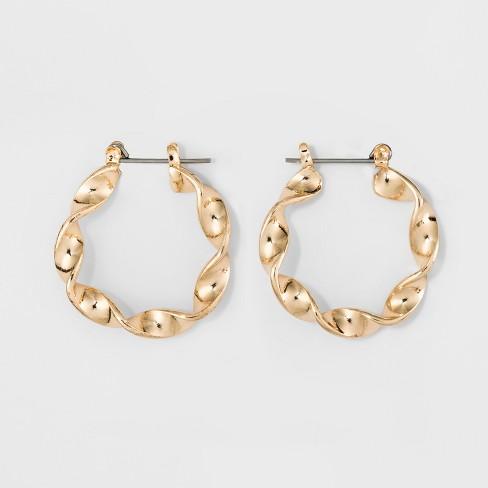 Twisted Metal Hoop Earrings Wild Fable Gold