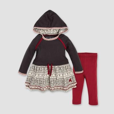 Burt's Bees Baby Girls' Organic Cotton Fair Isle Hooded Dress & Leggings Set - Dark Gray 18M