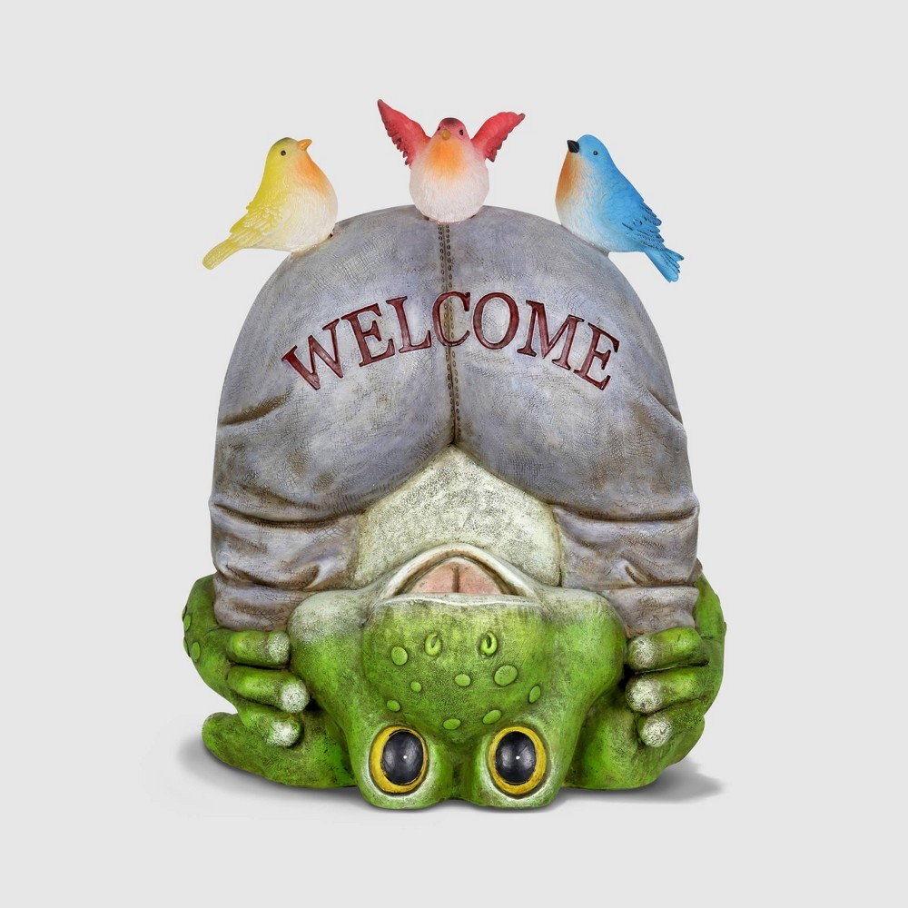 """Image of """"10"""""""" Solar Welcome Frog With Birds Resin Statue Gray - Exhart"""""""