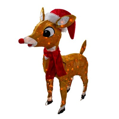 "Rudolph the Red Nosed Reindeer Christmas 32"" Prelit Soft Tinsel Outdoor Decoration - Clear Lights"