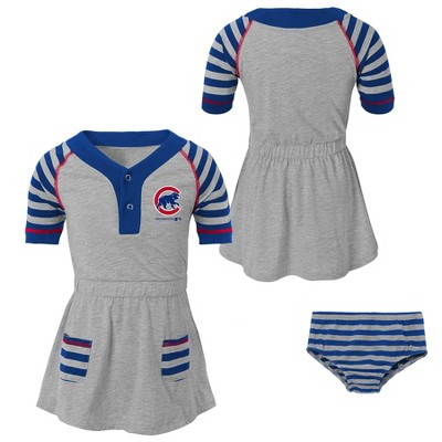 Chicago Cubs Girls' Striped Gray Infant/Toddler Dress - 18M