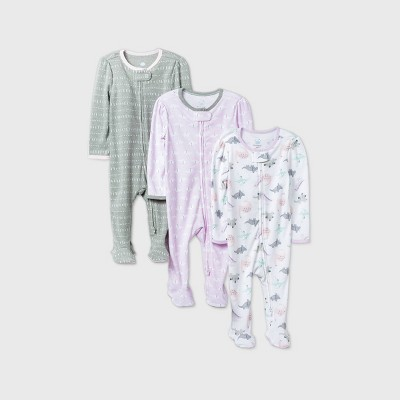 Baby Girls' 3pk Dino Dreams Sleep N' Play - Cloud Island™ Pink 0-3M