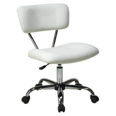 Vista Chrome and Vinyl Desk Chair White - OSP Home Furnishings