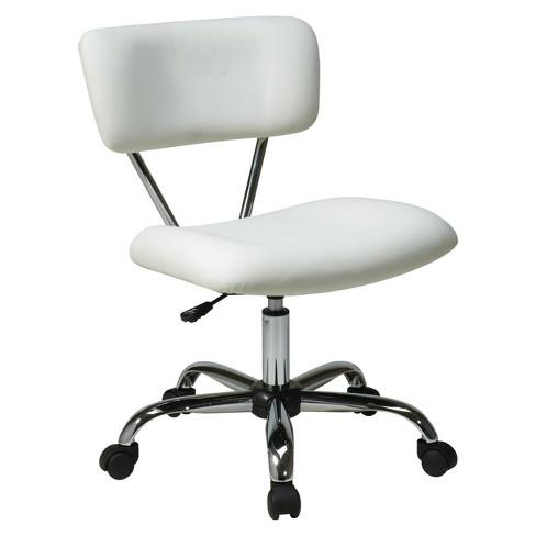 Vista Chrome and Vinyl Desk Chair White - OSP Home Furnishings - image 1 of 3
