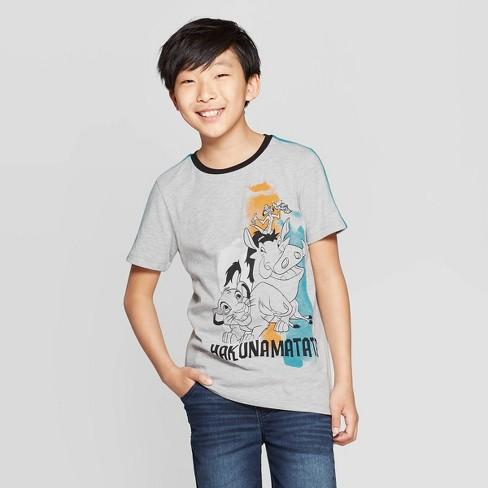 Boys' The Lion King Hakuna Matata Ringer Short Sleeve T-Shirt - Heather Gray - image 1 of 3