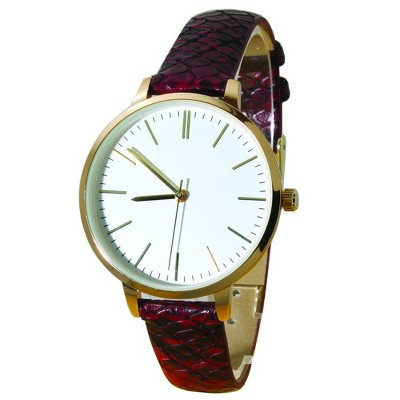 Olivia Pratt Snake Print Leather Strap Watch