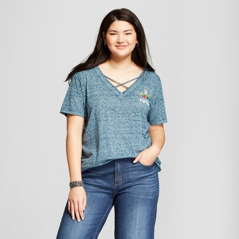Women's NASA Plus Size Short Sleeve Criss Cross V-Neck Graphic T-Shirt (Juniors') Turquoise - image 1 of 2