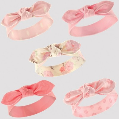 Hudson Baby Girls' 5pk Headbands - Coral/Pink 0-12M