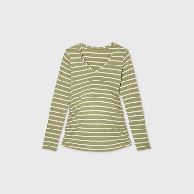 Long Sleeve Scoop Neck Side Shirred Maternity T-Shirt - Isabel Maternity by Ingrid & Isabel™