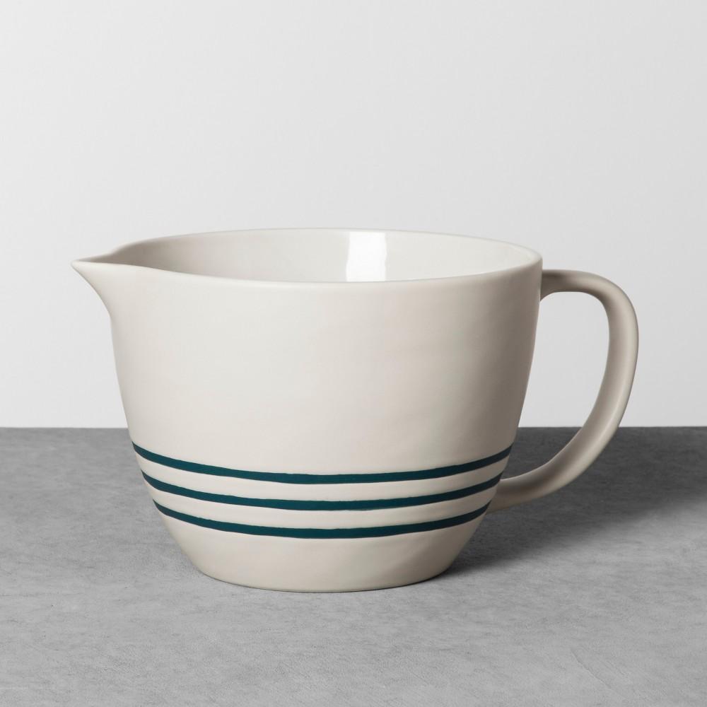 Stoneware Pancake Batter Bowl - Cream/Blue - Hearth & Hand with Magnolia