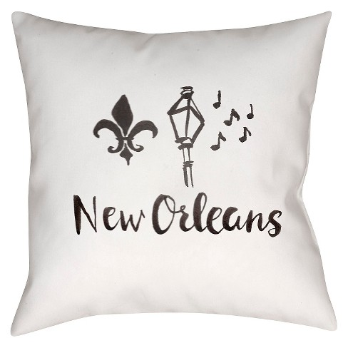 White Souvenir New Orleans Throw Pillow 18 X18 Surya