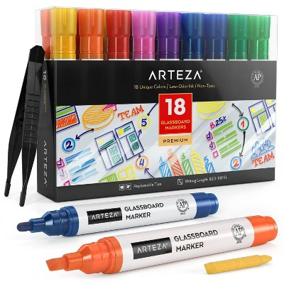 Arteza Glassboard Markers, Assorted Classic & Neon Colors - Set of 18