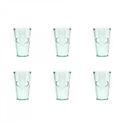 Amici Home Italian Recycled Green Bee Hiball Glass, 16oz, Set of 6