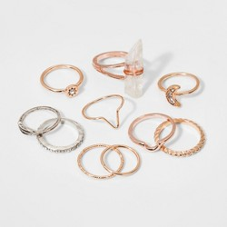 Delicate, Textured, Crescent Moon and Leaf Single Ring Set 10pc - Wild Fable™