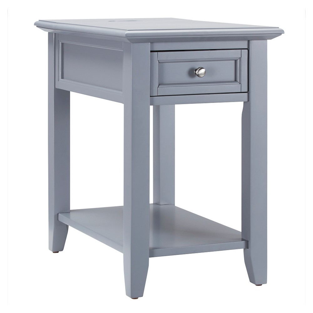 Resnick Accent Table with Hidden Outlet - Gray - Inspire Q