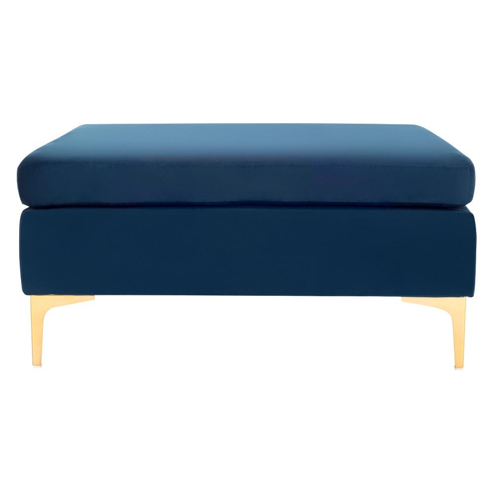 Giovanna Square Bench Navy (Blue)/Brass - Safavieh